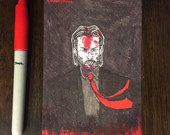 John Wick 4x6 postcard, babayaga, john wick art, keanu reeves, boogeyman, movie art