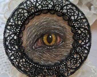 Werewolf Lover's Eye Original Drawing in Circle Frame