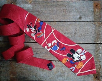 "Rare Vintage 90s Disney Sport Neck Tie,Red tie vintage,Mickey Mouse Donald Duck Goofy running,Disney Dream Team,""MICKEY UNLIMITED"""