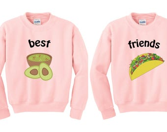Bff Guac and Taco, BFF jumper, Bff Pullover, Couples Sweater, Bff Sweater, duo sweatshirts, bff shirt set, best friends sweater