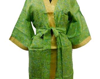 Indian Handmade Vintage Silk Sari Robe Casual Hippie Sleepwear Night Gown Kimono