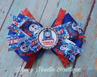 Thomas the train hair bow, Thomas the train boutique hair bow Thomas the train hair clip, Thomas the train hair, Thomas the train birthday,