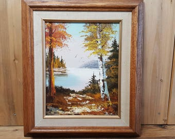 Vintage Framed Original Oil Painting Canadian North Late Autumn Landscape From the 60s Wood Frame Wall Hanging Artist Signed Fall Lake Scene