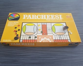 Vintage 1982 Parcheesi Royal Game of India Retro Board Game Night Imported from West Germany Printed in the USA Selchow & Richter