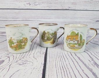 Vintage Lot of 3 70s Japan Stoneware Country Cottage Scene Farmhouse Mug Ceramic Coffee Cup Tea Hot Beverage Office Work Mug Farm Decor