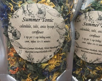 Summer Tonic, Herbal Infusion, Herbal Tea Blend, Handcrafted Tea