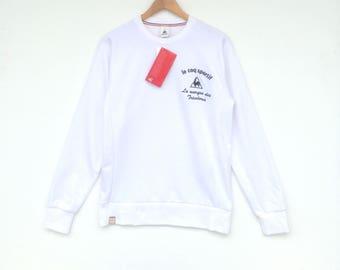 Vintage 90's Le Coq Sportif Big Logo Multicolour Sweatshirt Medium Size Jumper Jacket Sweater Pullover Hoodie