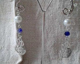 "Earrings ""silver and Blue Pearl"""