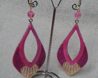 large pink and gold earrings