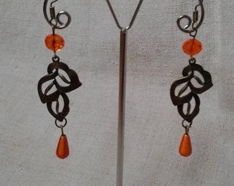 orange and bronze leaf earrings