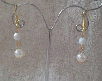"""""""harmony of white and gold"""" earrings"""