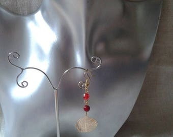 """red and gold leaf"" earrings"