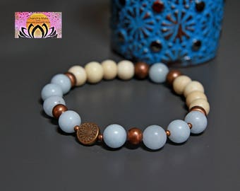 Wood Aquamarine Copper Bracelet-Beaded Stretchy Bracelet-Wrist Mala-Yoga Bracelet-Boho Chic Elegant Jewellery-Stacking Layering-Gift Her