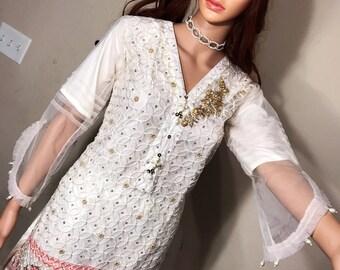 White Fancy net Embroidered Tunic/Kurti  Pakistani style kurta Shalwar kameez indian benagali style