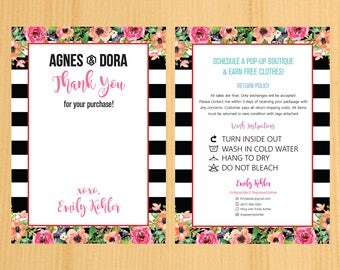 PRINTABLE Agnes and Dora Wash, Thank You Care Card, Fashion Retailer, Return/Care/Policy, Post Card, Instruction Return 01 | TY_07