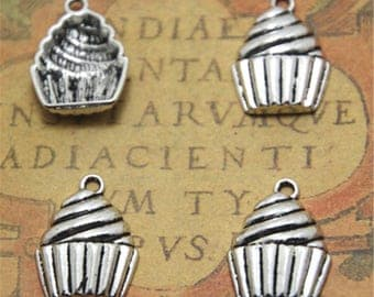 20pcs cup cake Charms silver tone cup cake Charms pendant 15x20x4mm ASD2538