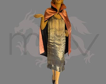 Vintage 1920s Satin Cape Reversible Stand Up Collar Black and Peach Excellent Condition