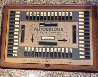 Vintage autobridge playing board with cards