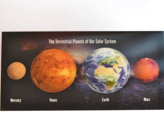 3D - large space postcard - The Terrestrial Planets of our Solar System - 21 x 10 cm