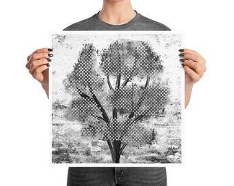 Dark Tree Digital Glitch Poster, 10x10, 12x12, 18x18, Modern Abstract Decor, B&W Print
