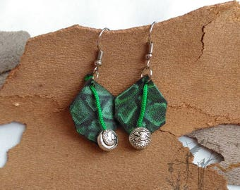 Leather hand painted earrings. Decorated earring original