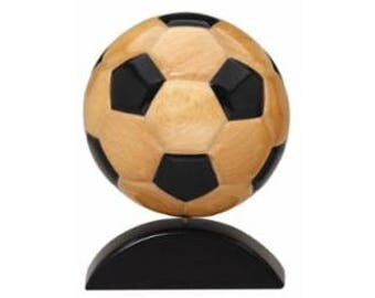 "7"" Wooden Soccer Ball Award with Custom-Engraved Plate ~ SPINS!"