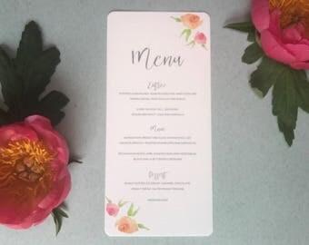 Pink Peach Floral Wedding Menu -  Grey Calligraphy Wedding Menu - Modern Wedding Reception Decor