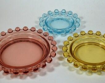 Set of Three Candlewick Glass Ashtray