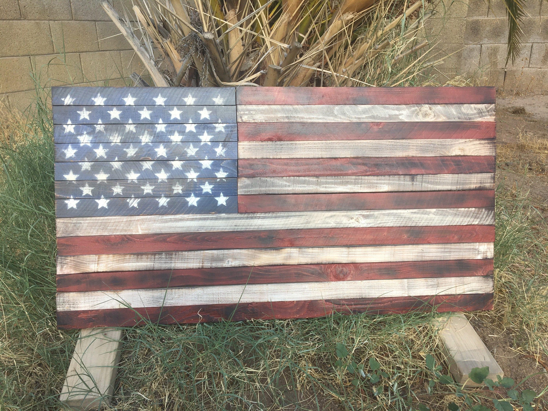 American Flag Art Wooden Rustic Wood