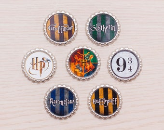 Conjunto de 7 pernos - pernos de tapa de botella Harry Potter - fiesta de cumpleaños de Harry Potter - Harry Potter Pinback Buttons - regalos de Harry Potter