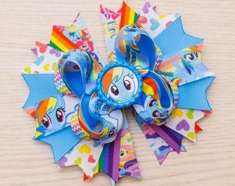 Rainbow Dash Bow - My Little Pony Party - Rainbow Little Pony Birthday - Little Pony Favors - My Little Pony Shirts - Rainbow Dash Dress