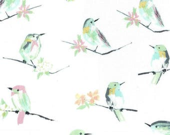 fabric white patchwork pattern with birds Michael MILLER Birds Butterfly
