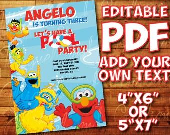 "Printable Sesame Street Pool Party Invitation for Sesame Street Birthday Party (5""x7"" / 4""x6"") Editable PDF Instant Digital Download"