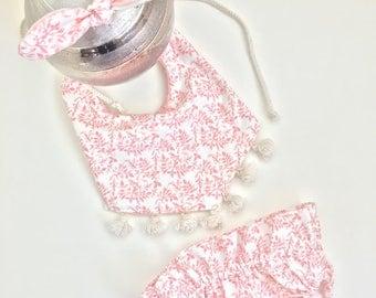 Boho bib/diaper cover/headband