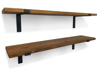 """Solid Oak Vintage Industrial Shelf 12"""" - 300mm - Including Metal Brackets - Handmade Shelves"""