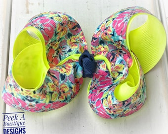 Lilly bow, lilly pulitzer hair bow, girls hair bow, big hair bow, m2m, neon bow, flower hair bow, floral hair bow, yellow hair bow,