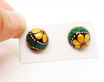 12MM Handpainted Wood Flower Earrings, Flower Jewelry, Wearable Art FREE SHIPPING