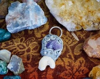 Amethyst Ocean Pendant / Coral Necklace