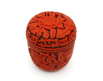 Qing Dynasty Lacquerware, Chinese Red Lacquer Canister, Small Floral Trinket Box, Small Cup with Lid, Cinnabar Round Box, Tsuishu Lacquer