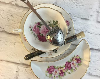 Mis-Matched Set Plus Test Tube Tea Trio Pink Roses Muted Shabby Pastels Flowers Floral Sheltonian Tea Cup and Duchess Saucer Fine Bone China