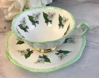 Rosina Lily of the Valley Tea Cup and Saucer Fine Bone China Vintage Numbered England Made Lovely GVC