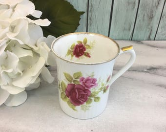 Royal Worcester Pink Roses Ribbed Tea Coffee Cup Mug Vintage Fine Bone China Porcelain Made in England