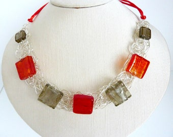 Red and grey necklace