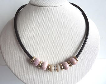 ceramic Bead Necklace in pink and brown leather