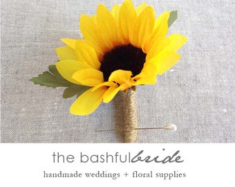 Sunflower boutonniere, rustic wedding,sunflower corsage, sunflower wedding, barn wedding, wedding boutonniere, groom boutonniere, best man