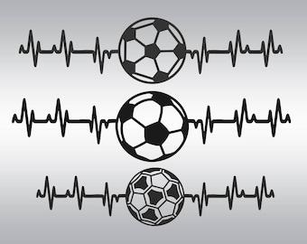 Soccer svg, Soccerball svg, Soccer mom svg, Heartbeat svg, Love soccer svg, Soccer Heartbeat svg, Cricut, Cameo, Clipart, Svg, DXF, Png, Eps