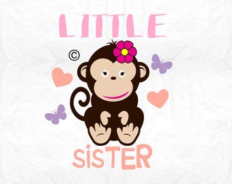 little sister monkey  SVG Clipart Cut Files Silhouette Cameo Svg for Cricut and Vinyl File cutting Digital cuts file DXF Png Pdf Eps