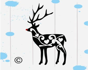 Reindeer svg, Christmas svg, Rudolph svg, Deer svg, Flourish SVG Files, Cricut, Cameo, Cut file, Files, Clipart, Svg, DXF, Png, Pdf, Eps