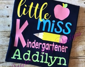 Little Miss Kindergarten Shirt, Back To School Shirt, Personalized Back To School Shirt, Girls Back To School Shirt, 1st Day of School Shirt