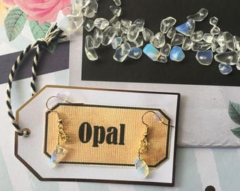 Opal and Gold Hand Wrapped Hypoallergenic Earrings